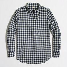 Factory petite gingham button-down shirt
