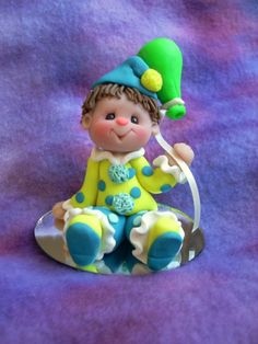 polymer clay clown cake topper personalized clown by clayqts