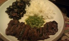Skirt steak, chimichurri, rice and beans