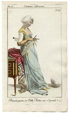 A lady knitting. Costumes Parisien, an 10 1803