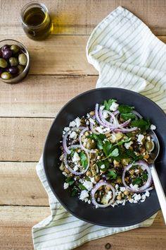 Lentil Chickpea Salad with Roasted Garlic Dressing | edibleperspective.com