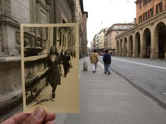 "everydayfrustone: "" Passanti this is a new set of then & now photos from one of my favourite vintage photo collectors Giuseppe Savini. he says, "" This is a series of photos I took in Bologna. Diy Photo, Vintage Photographs, Vintage Photos, Then And Now Photos, Miss Moss, Photoshop, Photo Projects, Creative Photos, Paris"