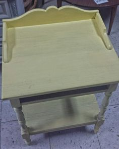 Working on a yellow painted table.  I like this color!  #projects #yellow #tabletop #lakewood #Cleveland