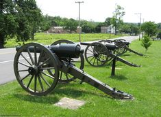 20-pounder Parrotts of the 5th New York Independent Battery alongside the Baltimore Pike at Gettysburg, near the Evergreen Cemetery Gate.  July 3:  Engaged at intervals in same position until 4 p.m. One gun on Baltimore Pike having burst, the other three relieved the section firing westwardly. Remained in this position until close of battle.