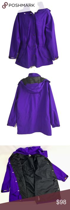 """Vintage REI Purple Gore-Tex Hooded Parka Size 18 Vintage REI Purple Gore-Tex Hooded Parka Jacket Coat Womens Sz 18 Hiking Waterproof Spots on the back.  Approximate measurements (all laying flat):  Shoulder to shoulder: 23"""" Underarm to underarm: 26"""" Arm/sleeve length: 25"""" Bottom Hem Width: 26.5""""  Length of item: 34.75"""" REI Jackets & Coats Utility Jackets"""