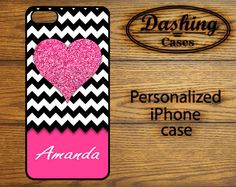 Glitter Heart Chevron Personalized iPhone 4s Case by DashingCases, $15.20