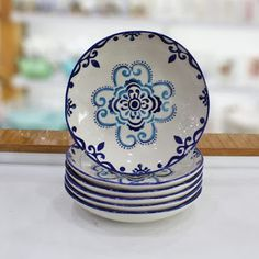 blue patterned porcelain dinner plate models up to discount, installment shopping, fast shipping, unbreakable packaging and after-sales support opportunity 6 Food Platter Set . Painted Ceramic Plates, Glass Ceramic, Ceramic Painting, Ceramic Bowls, Diy Painting, Ceramic Pottery, Ceramic Art, Glaze Paint, Butterfly Watercolor