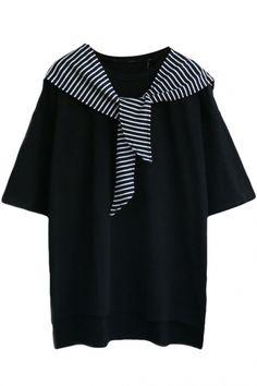 Black Short Sleeve Step Hem Stripe Tie Shoulder T-Shirt