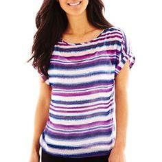 Liz Claiborne Short-Sleeve Striped Shirt - jcpenney