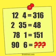 Brain teaser - Number And Math Puzzle - Math - What's the result of the puzzle? Math Riddles With Answers, Riddles Logic, Logic Math, Brain Teasers With Answers, Logic Puzzles, Number Puzzles, Math Numbers, Puzzles For Kids, Picture Logic