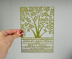 Lazer cut  invitations   Etsy listing at https://www.etsy.com/listing/168982326/tree-wedding-invitation-laser-cut-100pcs
