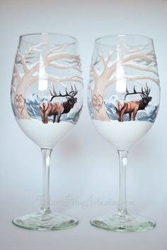 Hey, I found this really awesome Etsy listing at https://www.etsy.com/listing/194263828/set-of-2-hand-painted-winter-elk-wine