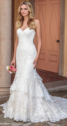 Casablanca spring 2018 strapless sweetheart neckline full embellishment layered skirt romantic trumpet wedding dress lace back chapel train Perfectly Shaped