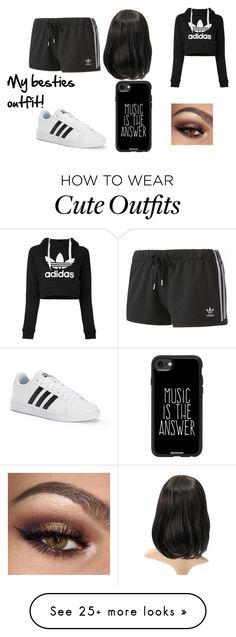 """""""My besties outfit!"""" by i-love-cake3 on Polyvore featuring adidas and Casetify"""