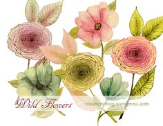 watercolor hand painted flowers, vintage flowers, watercolor floral clipart, spring clipart, wedding clipart, wedding invites by rosabebe on Etsy https://www.etsy.com/listing/205588290/watercolor-hand-painted-flowers-vintage