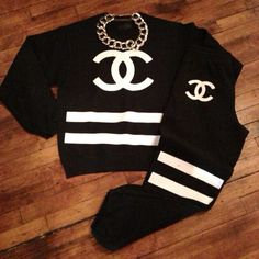 Black Chanel Sweat Suit | If you love shopping and making lists, you will love us.