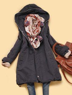 Dark Purple Hooded Long Sleeve Back Zipper Pockets Coat