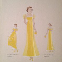 Fashion from 1936 painted be Frieda E. Schomer my grandmother