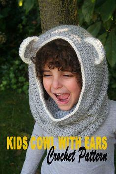 NEW PATTERN, Crochet Pattern Cowl with Ears, Kids, Easy. $2.99, via Etsy.