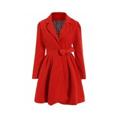 Red Xl Noble Turn-Down Collar Long Sleeve Pure Color Self Tie Belt... ($18) ❤ liked on Polyvore featuring dresses, rosegal, long sleeve day dresses, wrap tie dress, coat dress, red dresses and red coat dress