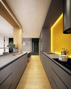 50 Minimalist kitchen cabinet simple kitchen design ideas for small space Contemporary Kitchen Cabinet Design Ideas Kitchen minimalist Simple small SPACE Modern Kitchen Interiors, Contemporary Kitchen Design, Kitchen Modern, Modern Kitchens, Galley Kitchens, Bathroom Modern, Modern Interior Design, Grey Kitchen Cabinets, Kitchen Flooring