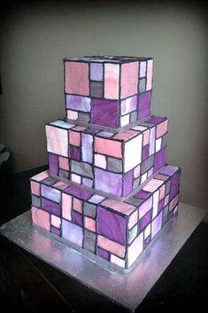Purple geometric square cake