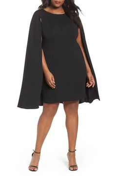 ee538f09ae25 Adrianna Papell NEW Structured Cape Stretch Crepe Sheath Dress Black 14W  16W NWT  AdriannaPapell