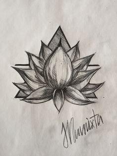 Lotus, Tattoo, Sketch,