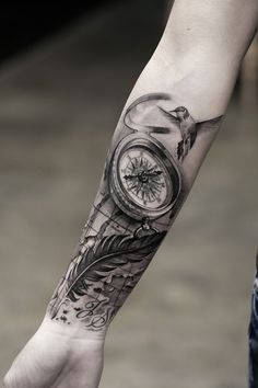 Compass and feather forearm tattoo - 100 Awesome Compass Tattoo Designs As the member of steampunk or biomechanical tattoo family, compass tattoo is appealing for its variety of designs and unique position in the history. Forarm Tattoos, Map Tattoos, Arm Sleeve Tattoos, Rose Tattoos, Body Art Tattoos, Compass Tattoo Forearm, Compass Rose Tattoo, Compass Tattoo Design, Vintage Compass Tattoo
