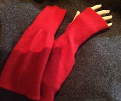 A76 red cashmere armwarmer red valentine  by mcleodhandcraftgifts