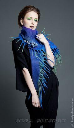 Купить шарф  МОРСКИЕ ГЛУБИНЫ - Авторский дизайн, ручная работа handmade, модный аксессуар