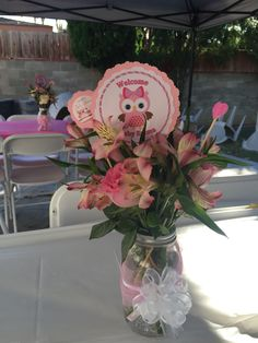 Baby Girl Centerpiece Owl theme