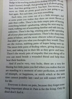 Harry Dresden of Dresden Files on Pain - one of my favorite passages of all time. Think about it all the time.