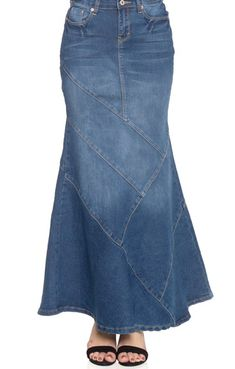 Womens Stonewash Flared Denim Maxi Skirt