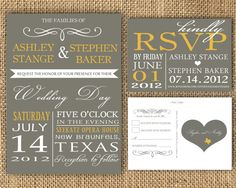 Gray and Poppy Yellow Wedding Invitation and RSVP by CooperJane, $30.00
