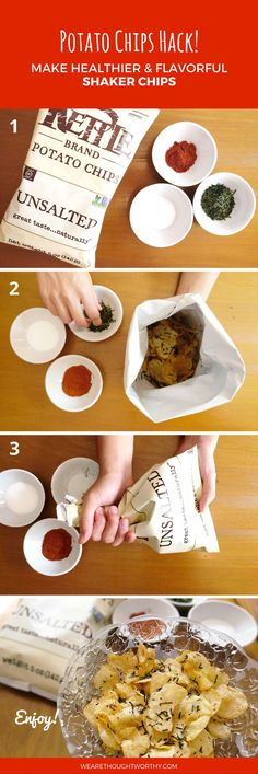 Love potato chips as much as we do? Store-bought potato chips tend to be highly processed. Here is a simple food hack to make your potato chips HEALTHIER using just 4 ingredients or less!