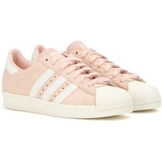 Adidas Superstar 80s Embossed Suede Sneakers ($130) ❤ liked on Polyvore featuring shoes, sneakers, s h o e s, zapatos, pink, 1980s sneakers, suede leather shoes, 80s shoes, 1980s shoes and adidas footwear