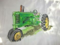 Thread sketched on fabric then watercolored tractor