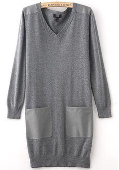 Grey Patchwork Pockets V-neck Wrap Acrylic Sweater