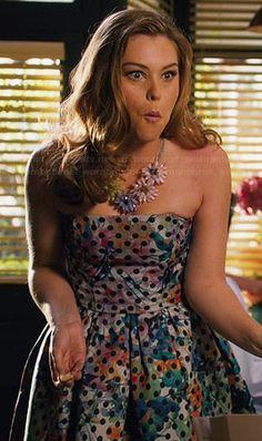 AnnaBeth's floral and polka dot print strapless dress on Hart of Dixie.  Outfit Details: http://wornontv.net/45888/ #HartofDixie