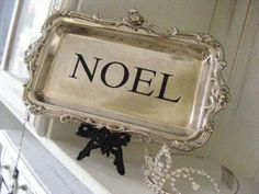 A coat of black spray paint gave these easels a new life. Adding a word to a silver plate is soo easy---try a rub-on or paint stencil. All Things Christmas, White Christmas, Vintage Christmas, Christmas Holidays, Silver Platters, Silver Trays, Silver Tea Set, Shabby, Black Spray Paint