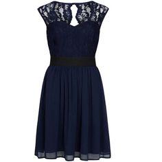 Dorothy Perkins Elise Ryan Navy Lace Skater Dress ($69) ❤ liked on Polyvore featuring dresses, blue, lace cocktail dress, navy lace dress, blue skater dress, short dresses and skater dress