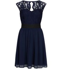 Dorothy Perkins Elise Ryan Navy Lace Skater Dress ($69) ❤ liked on Polyvore featuring dresses, blue, cut out skater dress, lace cocktail dress, navy lace cocktail dress, navy skater dress and blue skater dress