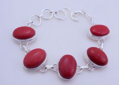 25 gram stunning   CORAL stone  .925 sterling silver  bracelet free shipping by OCEANJEWELLERS on Etsy