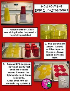 How to Make Solo Cups Ornaments for just a few $$$.  Great classroom craft!  Once the cups are melted, students can decorate them with almost anything.  See blog for more info.  TeachingIdeas4U by Amy Mezni