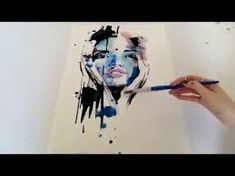 Quick watercolour painting - elegant and colourful faces Watercolor Face, Watercolor Video, Watercolor Techniques, Abstract Watercolor, Watercolour Painting, Painting Techniques, Abstract Portrait, Watercolor Portraits, Arts And Crafts