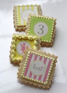Personalized cookies with edible ink images. Can be on dessert bar or individually wrapped as favors.