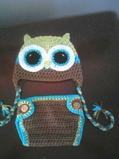 boy owl hat and diaper cover.