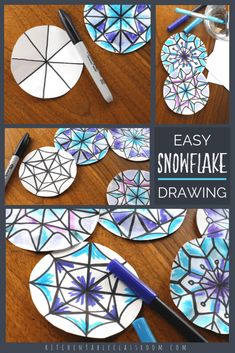 The Easiest Way to Draw a Snowflake- DIY Watercolor Snowflakes – The Kitchen Table Classroom This step by step snowflake drawing tutorial will help you draw super intricate looking snowflakes one line at a time. A unique marker process adds color! Christmas Art Projects, Winter Art Projects, Winter Crafts For Kids, Holiday Crafts, Kids Crafts, Art For Kids, Kids Fun, Christmas Holiday, Art And Craft Videos