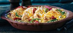 Tex Mex Chicken and Rice Bake Recipes Rice Bake Recipes, Casserole Recipes, Cooking Recipes, Rice Casserole, Mexican Casserole, Tasty Dishes, Food Dishes, Main Dishes, Pollo Tropical
